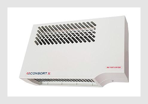 Double insulated downflow fan heaters