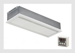Large recessed air curtain with electronic control